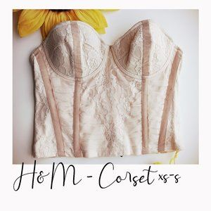 H&M - Beige Lace Corset - xs-s